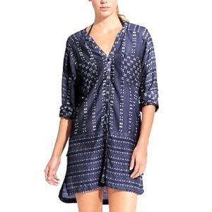 ATHLETA Blue Ikat Kaftan Tunic Shirt Coverup G25